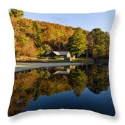 Mountain Lake Beach With Fall Color Reflections Throw Pillow
