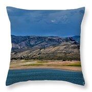 Mountain Lake Dark Clouds Looming Throw Pillow