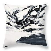 Mountain Lake In Black And White Throw Pillow