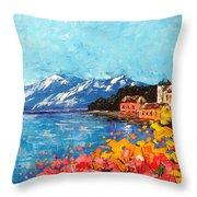 Mountain Lake In Italy Throw Pillow