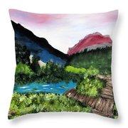 Mountain Lake Walk Throw Pillow