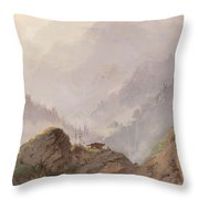 Mountain Landscape In Tirol With Chamois, Johannes Tavenraat, C. 1858 Throw Pillow