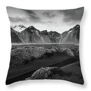 Icelandic Mountain  Landscape Throw Pillow