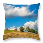 Mountain Landscape With Haystacks And Trees On Top Of Hill Throw Pillow