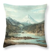 Mountain Landscape With Indians Throw Pillow