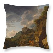 Mountain Landscape With River And Wagon Throw Pillow