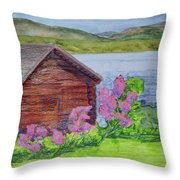 Mountain Laurel By The Cabin Throw Pillow