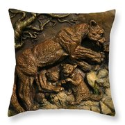 Mountain Lion Mother With Cubs Throw Pillow by Dawn Senior-Trask