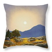 Mountain Meadow In Moonlight Throw Pillow