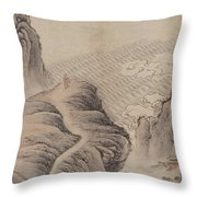 Mountain Path Landscape Ink Painting Throw Pillow