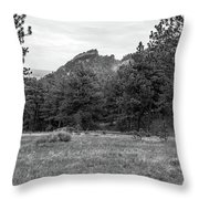 Mountain Peak Through The Trees In Black And White Throw Pillow