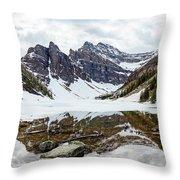 Mountain Picture Lake Agnes Throw Pillow