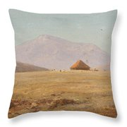 Mountain Plateau With Hut Throw Pillow