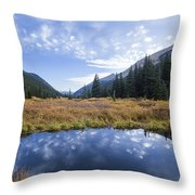 Mountain Pond And Sky Throw Pillow