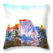 Mountain Range In Yosemite National Park Throw Pillow