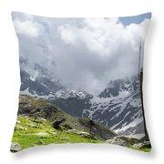 Mountain Refuge Of Mount Viso Throw Pillow