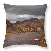 Mountain River Bridge Throw Pillow