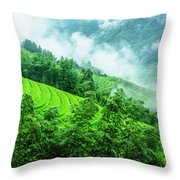Mountain Scenery In Mist Throw Pillow