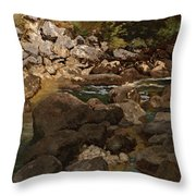 Mountain Stream With Boulders Throw Pillow