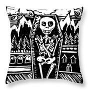 Mountain Town Skeleton Throw Pillow