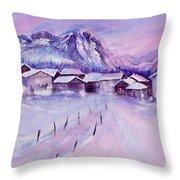 Mountain Village In Snow Throw Pillow