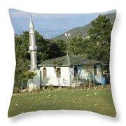 Mountain Village Mosque Throw Pillow