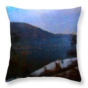 Mountain, Water And Road. Throw Pillow