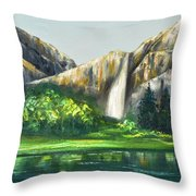 Mountain Waterfall Throw Pillow