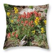 Mountain Wild Flowers Throw Pillow