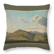 Mountainous Landscape At Vicovaro, Simon Denis Throw Pillow