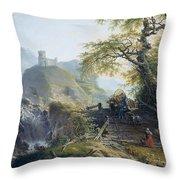 Mountainous Landscape Near Duesseldorf Throw Pillow