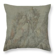 Mountainous Landscape With Castles And Waterfalls Throw Pillow