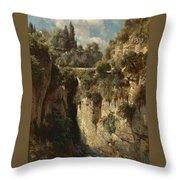 Mountainous Landscape With Waterfall Throw Pillow