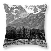 Mountains Alaska Bw Throw Pillow