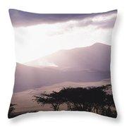 Mountains And Smoke, Ngorongoro Crater Throw Pillow by Skip Brown