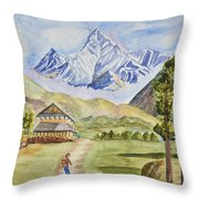 Mountains And Valley Throw Pillow