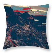 Mountains By Red Road Throw Pillow
