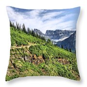 Mountains In Glacier National Park 1 Throw Pillow