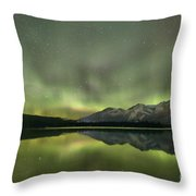Mountains In The Northern Lights Throw Pillow