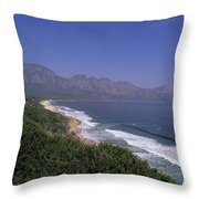 Mountains Meet Ocean On The Garden Throw Pillow