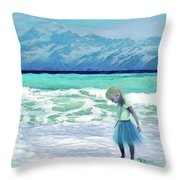Mountains Ocean With Little Girl  Throw Pillow