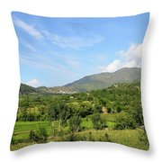 Mountains Sky And Homes In Village Of Swat Valley Khyber Pakhtoonkhwa Pakistan Throw Pillow
