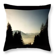Mountains Through The Trees At Sunrise Throw Pillow
