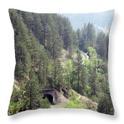 Mountains With Railroad And Tunnels  Throw Pillow
