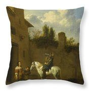 Mounted Trumpeter Taking A Drink Throw Pillow