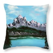 Mountian Waterfall Throw Pillow