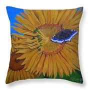 Mourning Cloak's Sunflowers Throw Pillow