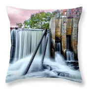 Mousam River Waterfall In Kennebunk Maine Throw Pillow
