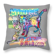 Mouse And Cat Friend Throw Pillow