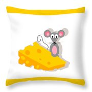 Mouse And Cheese Illustration Throw Pillow